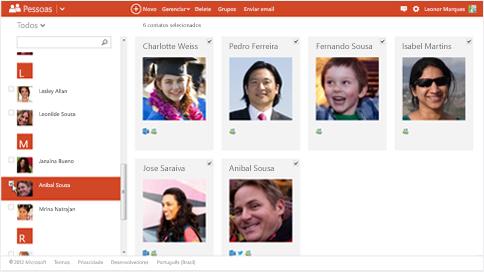 Visualizando os contatos do Outlook no Android