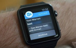 Outlook já está funcionando no sobre Apple Watch