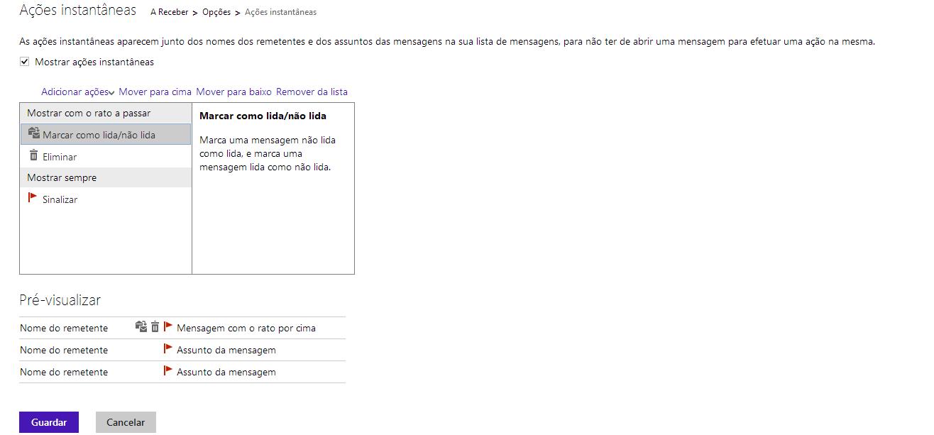 Ações instantâneas no Outlook