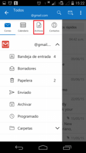 Arquivos sincronizados no Outlook para Android