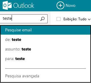 Busca avançada no Outlook.com