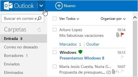 Caixa de entrada de Outlook