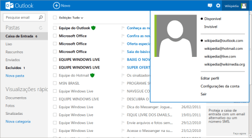 Mover-se entre mensagens do Outlook.com