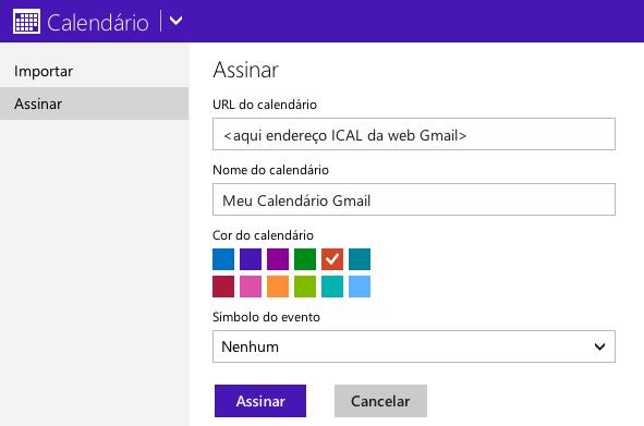 Assinar um calendário do Gmail