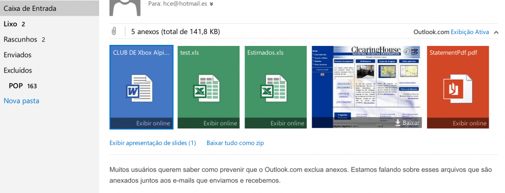 Evitar que o Outlook.com exclua os anexos