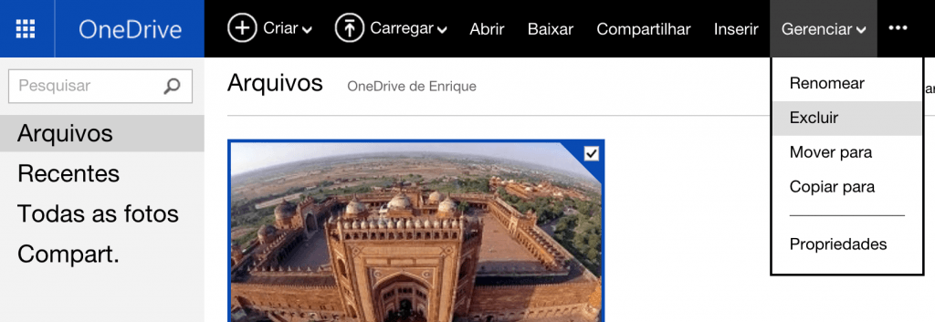 Excluir fotos no OneDrive