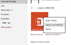 Novo recurso permite que você salve anexos no OneDrive