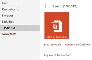 adicionar anexos OneDrive conta Outlook