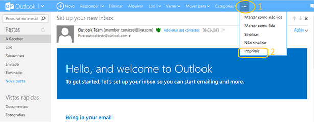 Como imprimir documento a partir do Outlook