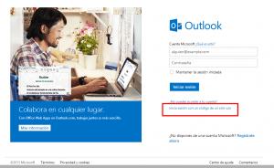 Código de acessoúnico no Outlook.com