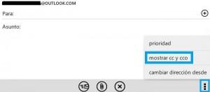 Enviar cópias ocultas no Outlook.com para Android