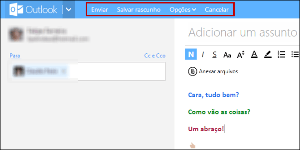 Enviar e-mail no Outlook.com