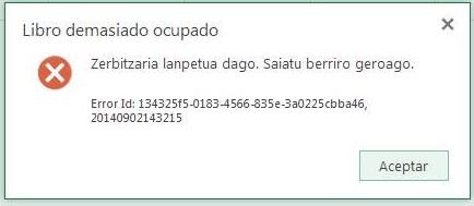 Erro Excel Online