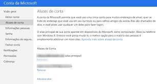 Escolher o endereço do correio eletrónico do Outlook.com
