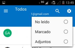 Filtros no Outlook para Android
