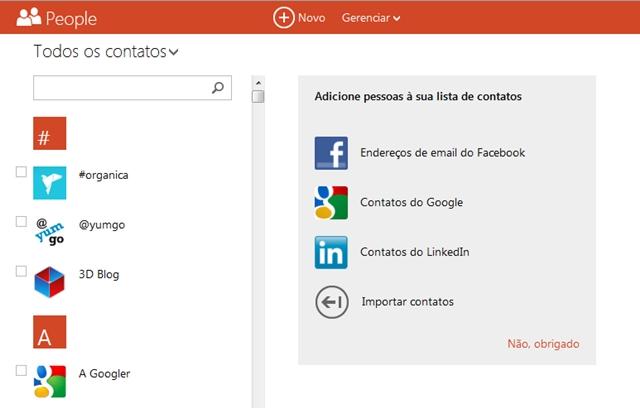 O número máximo de contatos no Outlook.com