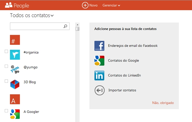 O número máximo de contatos no Outlook.com