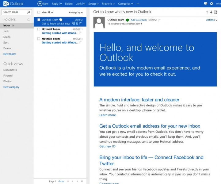 Posso entrar no Outlook com a minha conta do Hotmail?