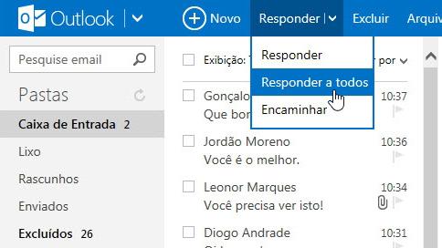 Reencaminhar correios eletrónicos no Outlook