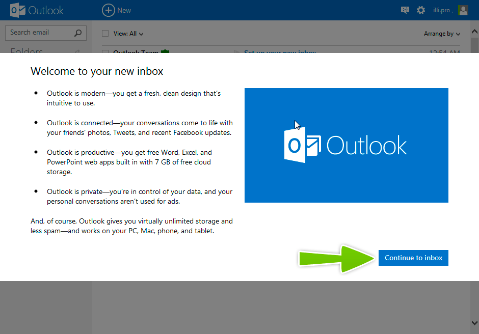 Utiliza a conta Outlook para encontrar emprego