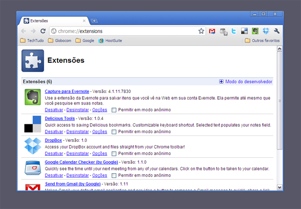 Extensões do Outlook.com no Chrome