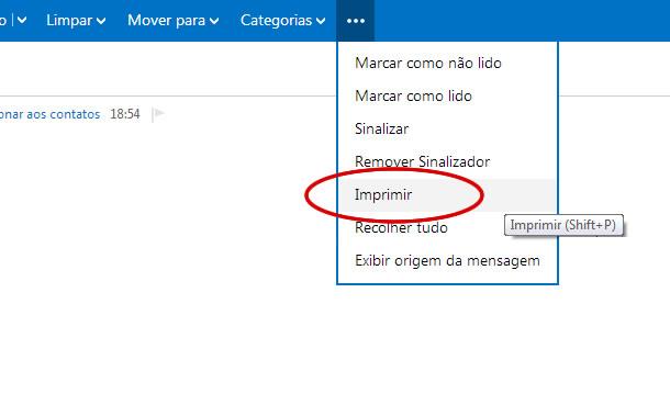 Imprimir vários e-mails no Outlook.com