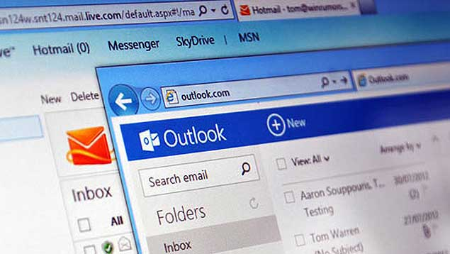 dados do correio Outlook