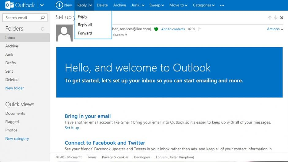 Separar e-mails recebidos no Outlook.com para Android