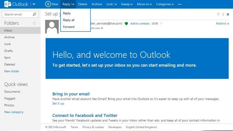 Separar e-mails recebidos no Outlook.com para Android