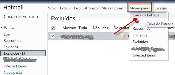Alterar uma pasta de e-mail