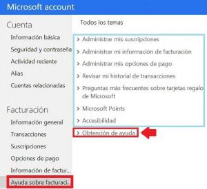 Suporte facturamento Microsoft conta Outlook