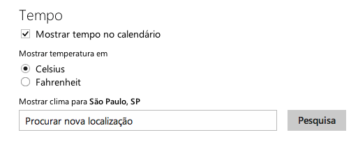tempo no calendario do outlook